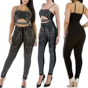 Pants - Studs design cut out jumpsuit